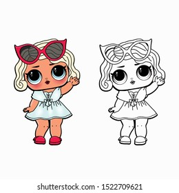 Line Art Cute LOL  Vector Illustration - Outline doll Image for coloring book