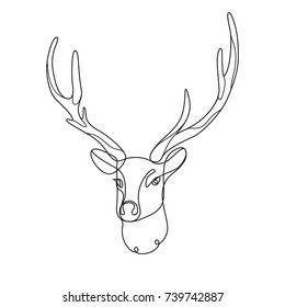 Line art deer. Abstract modern decoration. Vector illustration. One line drawing. Black and white. Trendy concept for logo