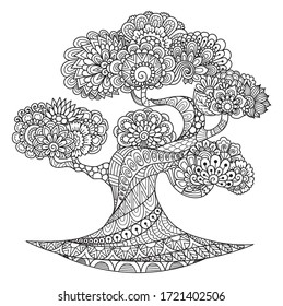Line art desgin of beautiful tree for coloring book, coloring page, and printing on product. Vector illustration