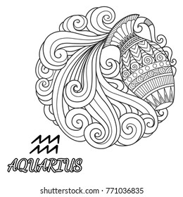 Line art design of Aquarius zodiac sign for design element and coloring book page. Vector illustration.