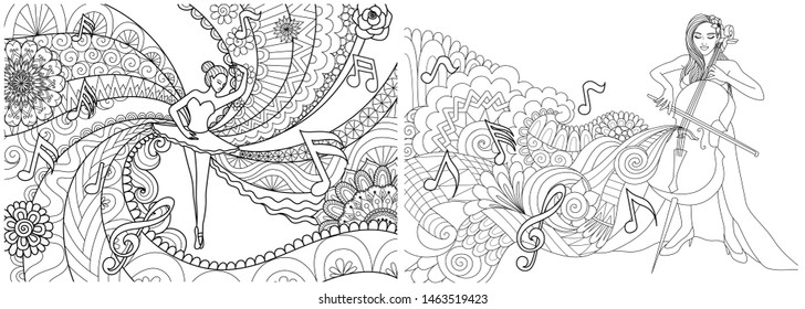 Line art design of ballerina dancing and Cello player collection for print on product or adult coloring book. Vector illustration