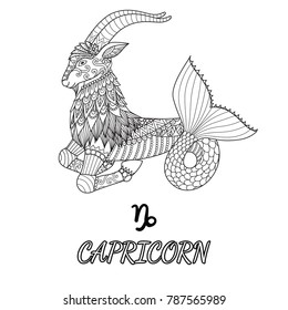 Line art design of Capricorn zodiac sign for design element and adult coloring book page. Vector illustration