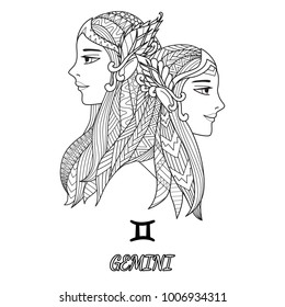 Line art design of Gemini zodiac sign for design element and adult coloring book page.Vector illustration