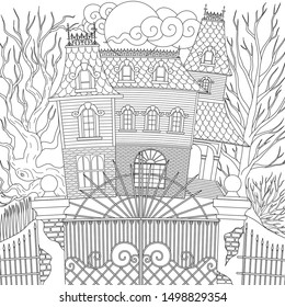 Line art design of haunted house victorian style, Happy Halloween them, for printing, adult coloring and other design element. Vector illustration