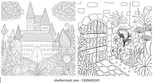 Line art design of haunted house collection, Halloween theme for printing on stuffs, adult coloring book, cards, invitations and so on. Vector illustration