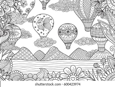 Line art design of Hot air balloons in spring and summer time for coloring page and design element.