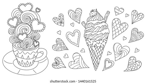 Line art design of hot coffee with beautiful scrolling,heart frame for your text and icecream cone collection for printing on stuffs and coloring book pages. Vector illustration
