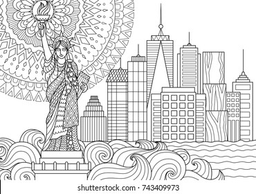 Line art design of Liberty statue for design element and adult coloring book page. Vector illustration.