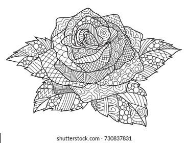 Line art design of rose for design element and adult coloring book page. Vector illustration