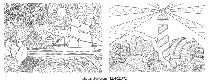 Line art design of seascape set for adult or kids coloring book page. Vector illustration.