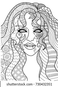 Line art design of sexy witch head for Halloween card,invitation and adult coloring book page.Vector illustration