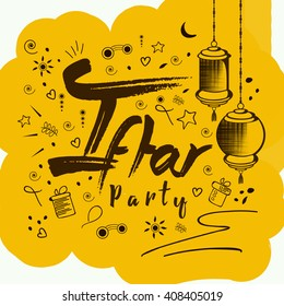 Line art doodle design with stylish and creative text of If tar Party with hanging lanterns on creative background for Islamic Festival Ramadan Kareem.