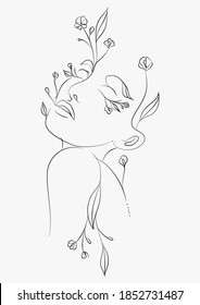 Line art drawing of an abstract woman with leaves and flowers. Portrait minimalistic style. Botanical print. Nature symbol of cosmetics. Flower head. Fashion print.