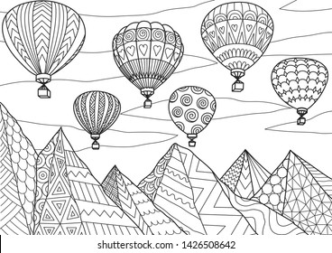 Line art drawing of beautiful hot air balloons flying above mountains in summer for printing on anything or adult coloring book or coloring page. Vector illustration.