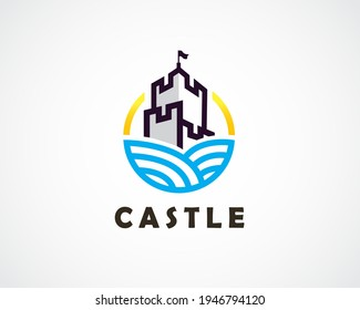line art drawing castle kingdom secure logo symbol emblem design illustration