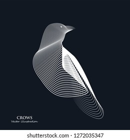 line Art drawing. Crow Logo . Black and white vector illustration.