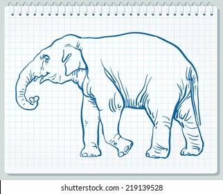 line art drawing of an elephant