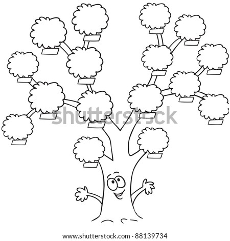 line art drawing funny family tree stock vector royalty free