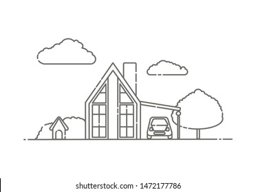 Line art drawing of a modern house with car and dog house