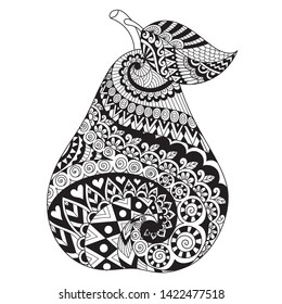 Line art drawing of pear for printing on stuffs and adult coloring book or coloring page. Vector illustration