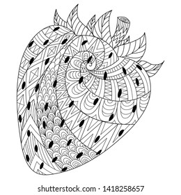 Line art drawing of strawberry for printing on stuffs and adult coloring book or coloring page. Vector illustration