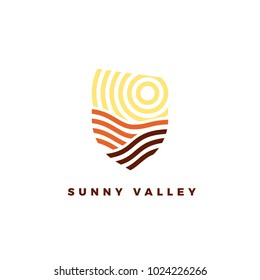 Line art emblem Sunny Valley. Line logotype for wine yards or landscape
