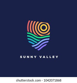 Line art emblem Sunny Valley. Line logotype for wine yards or landscape with hills and stripes.