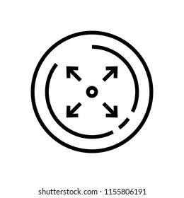 Line art, expand arrows icon vector
