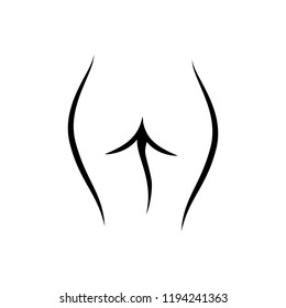 Line art female ass logo, woman body silhouette, sketch of cute body. Fashion illustration for poster, banner, logo, icon, printing of undewear shop, intimate goods for adult,  sport industry
