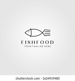 line art fish and fork logo minimalist symbol vector illustration design