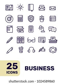 Line art flat style design of liner icon for web, site, banner, business presentation. Vector creative thin line business icon set on white background with title