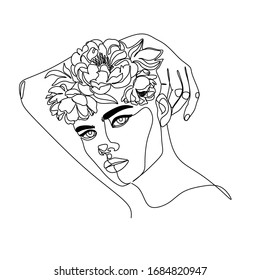 Line art flower face. Line drawing woman with flowers. Abstract face with flowers by one line vector drawing. Portrait minimalistic style. Fashion Full Bloom line art