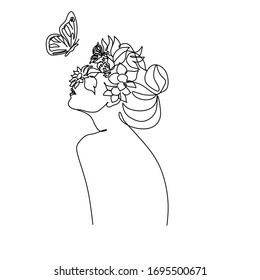 Line art flower face vector. Abstract line drawing woman face with flowers looks on butterfly.
