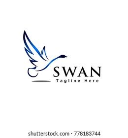 Line art flying swan bird logo