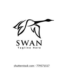 line art flying swan logo