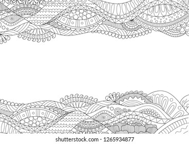 Line art frame on white background with copy space for design element and coloring book for anti stress.Vector illustration