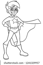 Line art full length illustration of superhero boy smiling happy while wearing cape and superhero costume.