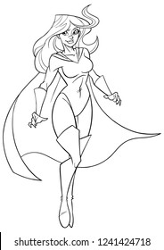 Line art full length illustration of determined and powerful superheroine wearing cape while flying during mission against white background for copy space.