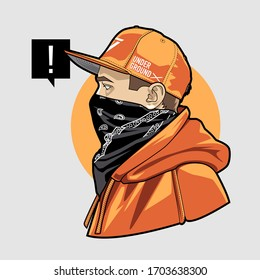 Line art of gangster young man in snapback, face masked with bandana. Weared in hoodie. Vector illustration.