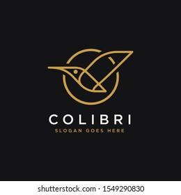 Line art, geometric icon of colibri logo