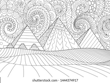 Line art Giza plateau landscape with egyptian pharaohs pyramids complex illuminated . black and white drawing for design element and adult coloring book, or coloring page. Vector illustration