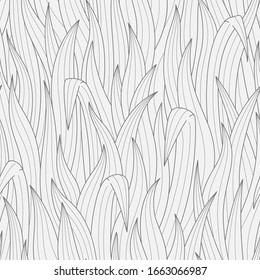 Line art grass seamless pattern. Two color vector graphic.