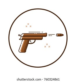 Line art gun icon in circle. Isolated vector illustration.