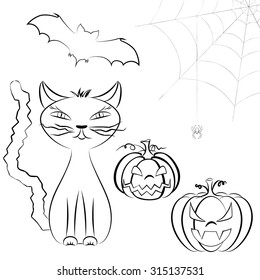 Line art Halloween vector set of cute cat, Jack O'Lantern, bats and spider on cobweb isolated on white. Halloween characters set