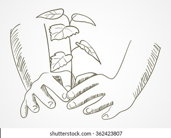 Line art of hands planting the tree