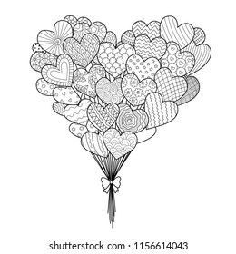 Line art of hearted shape balloons for design element and coloring book page with Valentines or wedding theme. Vector illustration