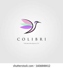line art hummingbird logo colibri vector, label, badge, illustration design