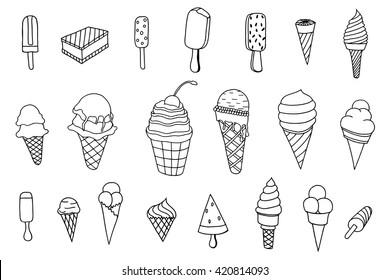 Line art icecream icons set. Dessert food, sweet and cold, vector illustration