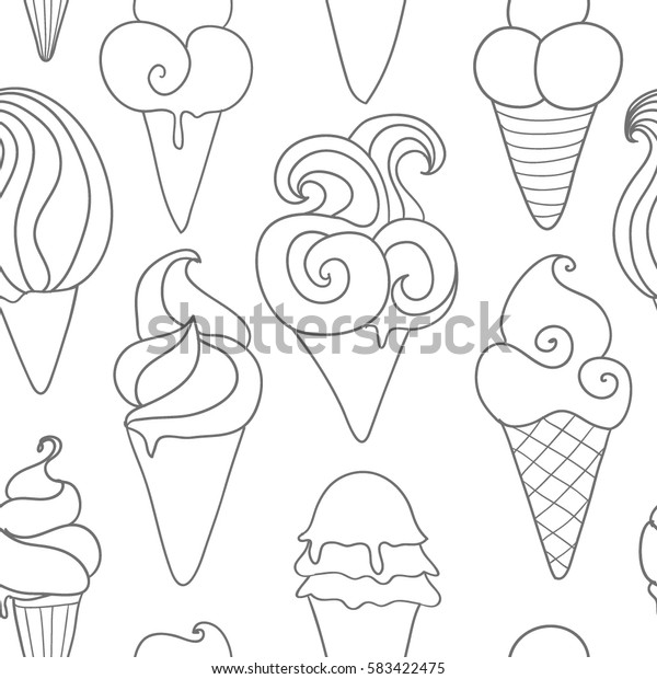 Line art ice-cream seamless background