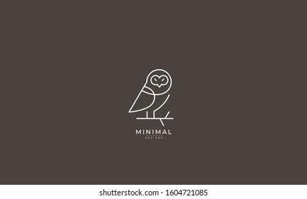 A line art icon logo a Owl